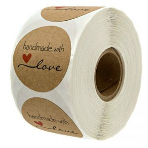 Round Kraft Paper Stickers 500 Pcs Set Handmade with Love Thank you Stickers