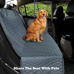 Pet Waterproof Quilted Backseat Car Cover Grey or Black