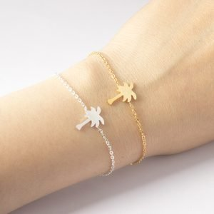 Gold or Silver Colored Palm Shaped Minimalistic Women's Girl's Bracelet