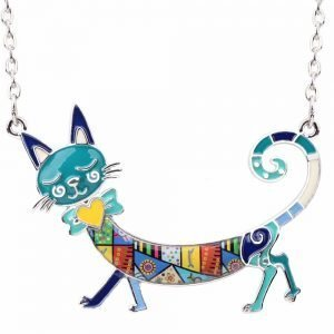 Elegant Enamel Necklace with Cat Pendant for Cat Lovers