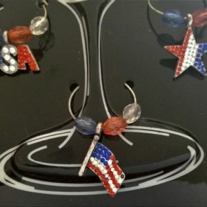 6 American wine glass charms, USA, Star, Flag, Eagle, Map, Heart, Red White Blue