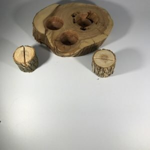 2 Rustic Wood Table Numbers Holder and 1 Three Tea Light Wood Holder