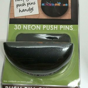 30 Neon Push Pins with Black Push Pin Cup for any Bulletin Board Surface