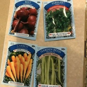 4 pack vegetable herb seeds, beet, parsley, carrot, bean 2020, American Seed