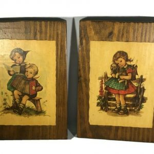 2 Vintage Hummel Wood Plaques Children Music Accordion Girl Fence Dog