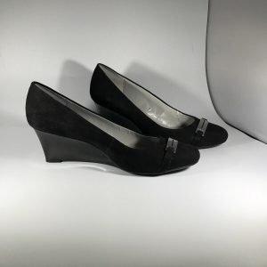 Calvin Klein Black Suede Women's Wedge Heels Size 9.5 With Buckle