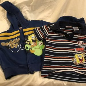 2 Nickelodeon 3T Boy's Tops | 1 Hoodie and 1 Shirt| Sponge Bob Square Pants |
