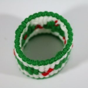 15 Woven Green Christmas Tree Napkin Rings 1.5 inches Ring White Background