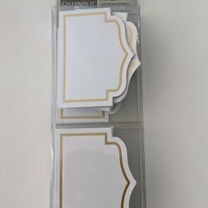 White Place Cards Gold Rim Weddings and Showers, 30 pcs each, 90 Total, Paper, Write-On, Tent-Style, Celebrate iIt Active