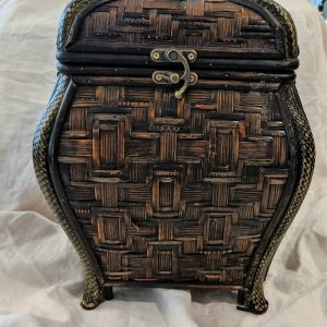 Chinese Wicker Rattan Treasure Chest Hinged Footed Box Fabric -Lined Interior