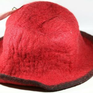 A People United Red Felt Women's Hat Sweater Girl Embellished Buttons 8.5 inches