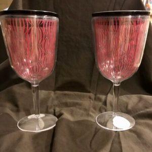 2 Large Novelty Plastic Wine Glasses w Straw Lids Bachelorette Birthday Shower