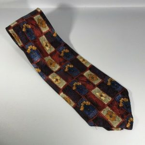 Bolgheri 100% Silk Men's Tie Blue, Purple, Red with Yellow Flowers