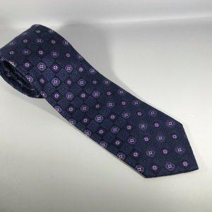 Contissima Men's 100% Silk Tie Dark Blue with Dark and Light Purple Patterns