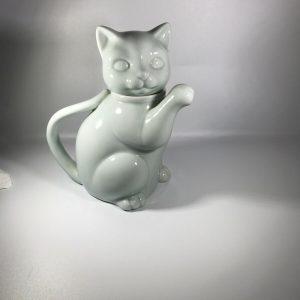Vintage Takahashi Hand Finished Light Blue Porcelain Lucky Cat Mini Teapot