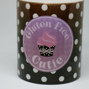 Gluten Free Cutie Brown and White Polka Dot Coffee Mug ~3.5 inches Tall