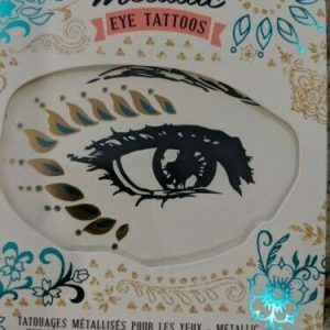 Metallic Eye Temporary Tattoos, 2 sheets, Green & Gold, Pink & Gold by NPW