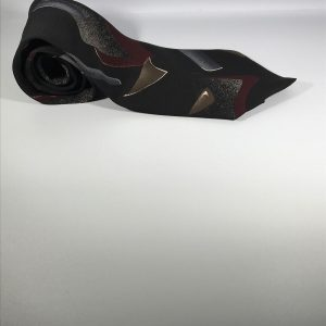 Towncraft Men's Tie Black with Red, Brown, and Grey Geometric Shapes