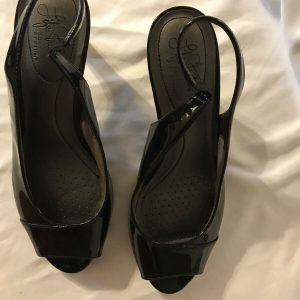 Life Stride Soft System Sz 9m Women's Peep Toe Sling Back Black Heels Pumps