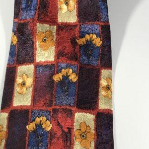 Bolgheri 100% Silk Men's Tie Blue, Purple, Red with Yellow Flowers