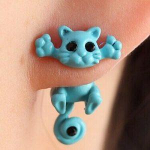 3D Small Blue Cat Stud Fashion Women's Fashion Earrings