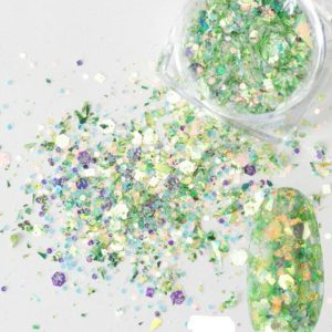 Green Nail Glitter Sequins Mixed Shapes Round Hexagon Manicure Pedicure
