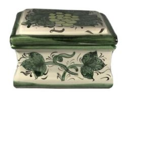 Tom San Designs Decorative Ceramic Box BRCT 6200 Cream Background Green Floral