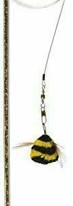 Go Cat Da Bee & Rod Cat & Kitten Interactive Cat Toy with Green Sparkle Handle