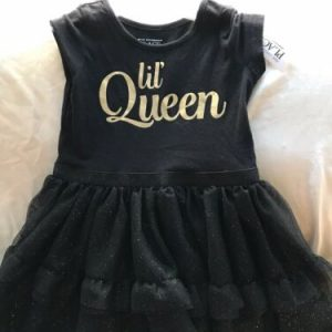 Girl's The Children's Place Size 4T Black Lil' Queen Dress NWT