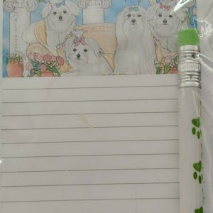 Maltese Dog Magnetic List Pad Mini Lovable Pooch Pad w/Green Paw Print Pencil