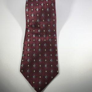 Club Room by Charter Club 100% Men's Silk Tie Dark Red/Maroon Silver Diamonds