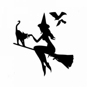 Witch on Broomstick with Cat & Bats Car Sticker Vinyl Decal Black