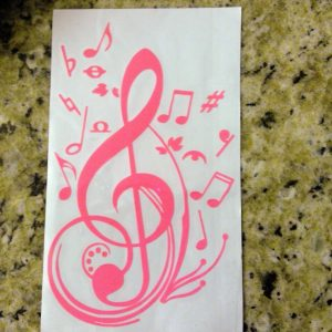 Music Notes Home Decor Wall Sticker or Car Window and Bumper Sticker