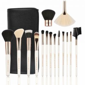 ZOREYA Professional 15 pcs Makeup Brush Set with Vegan Leather Case Rose Gold