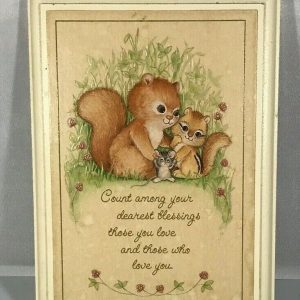 Vintage 1980 Hallmark Hanging Wood Wall Plaque Squirrel, Chipmunk, and Mouse