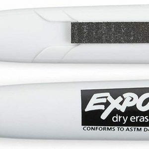 EXPO 1944726 Magnetic Dry Erase Markers with Eraser, Chisel Tip, Black, 2-Count