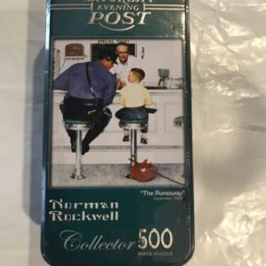 Norman Rockwell Saturday Evening Post THE RUNAWAY 500 Pc. Puzzle Tin Container