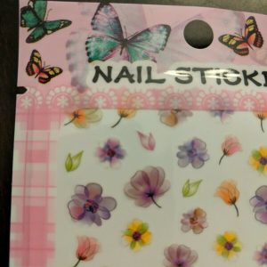 Colorful Flower Nail Decals 1 Sheet for Manicures and Pedicures