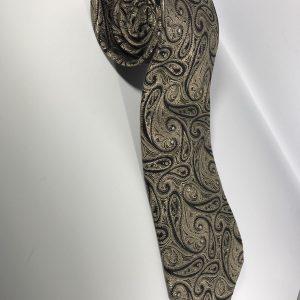Chaps Men's 100% Silk Men's Thick Tie Bronze and Blue Paisley
