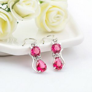 1Pair 925 Sterling Silver Fashion Cubic Zirconia Rose Red Earrings