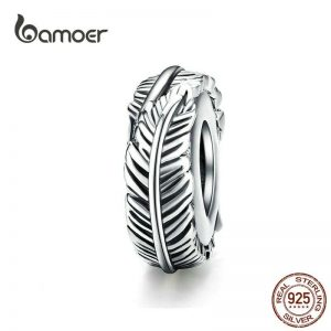 Bohemian Sterling Silver Feather Space With Silicone Padding for Jewelry Making