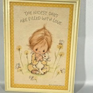 Precious Moments Plaque, Days Filled With Love, Yellow, Girl with a Bunny, 1972