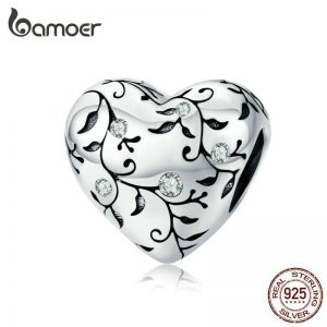 Sterling Silver Heart Bead Charm with Pastoral and Floral Design for Jewelry