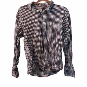 J. Crew Men's Plaid Button-Down Long-Sleeve Shirt 100% Cotton Large Red, White