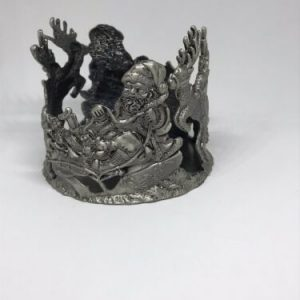 Vintage Santa Reindeer Sleigh Christmas Candle Holder Round Metal 3.5 x 3 inches