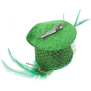 St. Patrick's Day Green Mini Top Hat Hair Clip On with Feathers