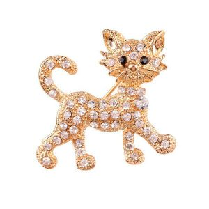 Cat Rhinestone Gold-Colored Women's Brooch Fashion Jewelry