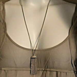 Rhodium Silver Plated 2.5″ Tassel on Half Dome 24″ Curb Chain Necklace Handmade