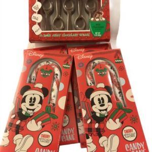4 Disney Cherry Flavored Candy Canes Jumbo and 1 Palmer Chocolate Spoons 5 pack