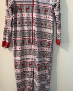 Women's Medium (8-10) Footless Fleece Pajamas with Hood Pink Gray with Reindeer
